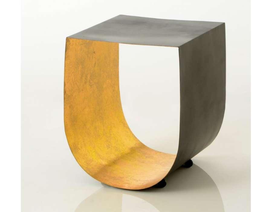 Bout de canap design en u noir et dor marque amadeus - Bout de canape dore ...