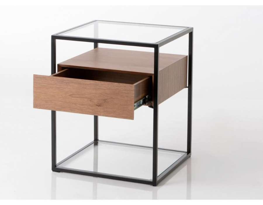 bout de canap m tal avec un plateau en verre contemporain. Black Bedroom Furniture Sets. Home Design Ideas