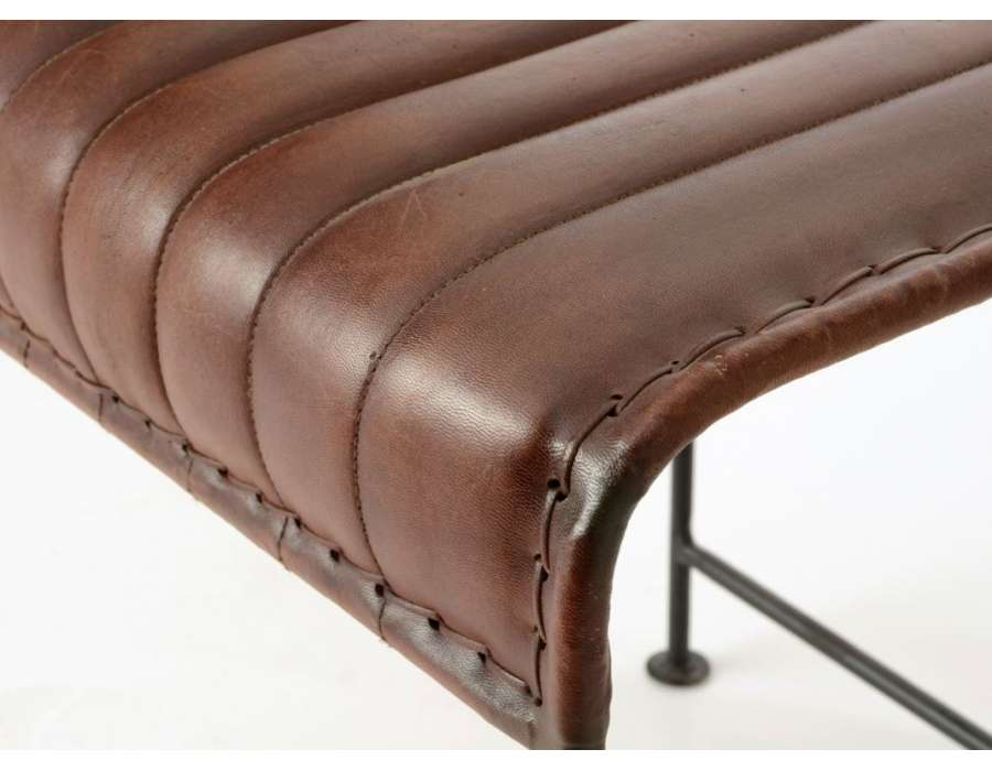 Tabouret vintage métal et cuir marron Amadeus