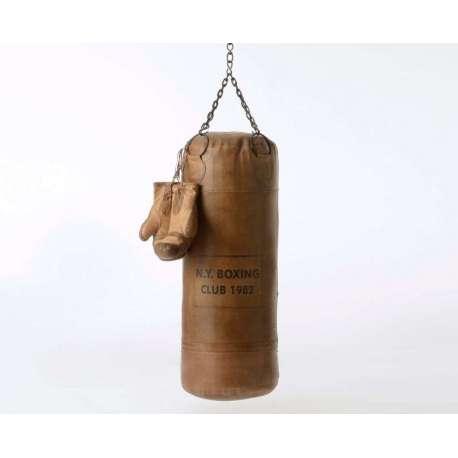 sac de boxe vintage en cuir marron avec chaine pour cadeau. Black Bedroom Furniture Sets. Home Design Ideas