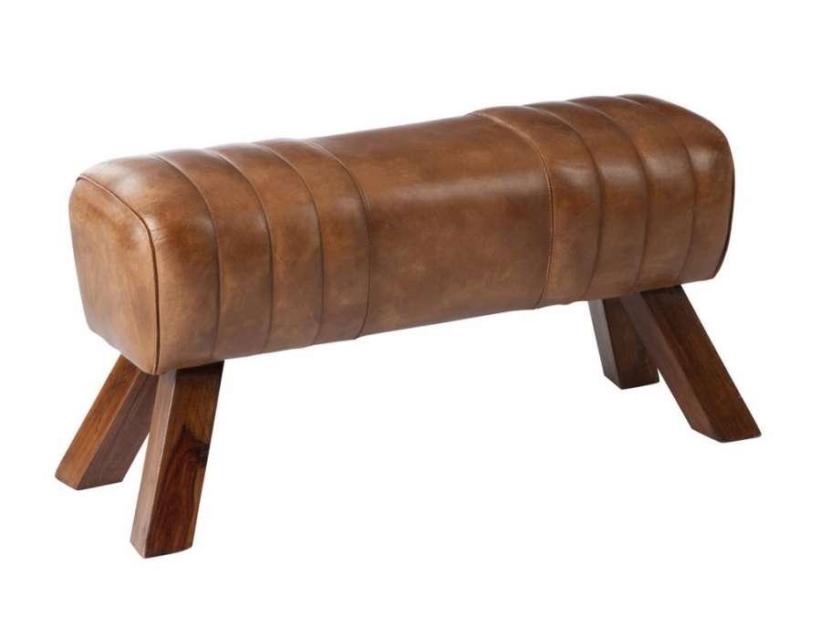 Grand tabouret de cheval cuir vintage Jolipa