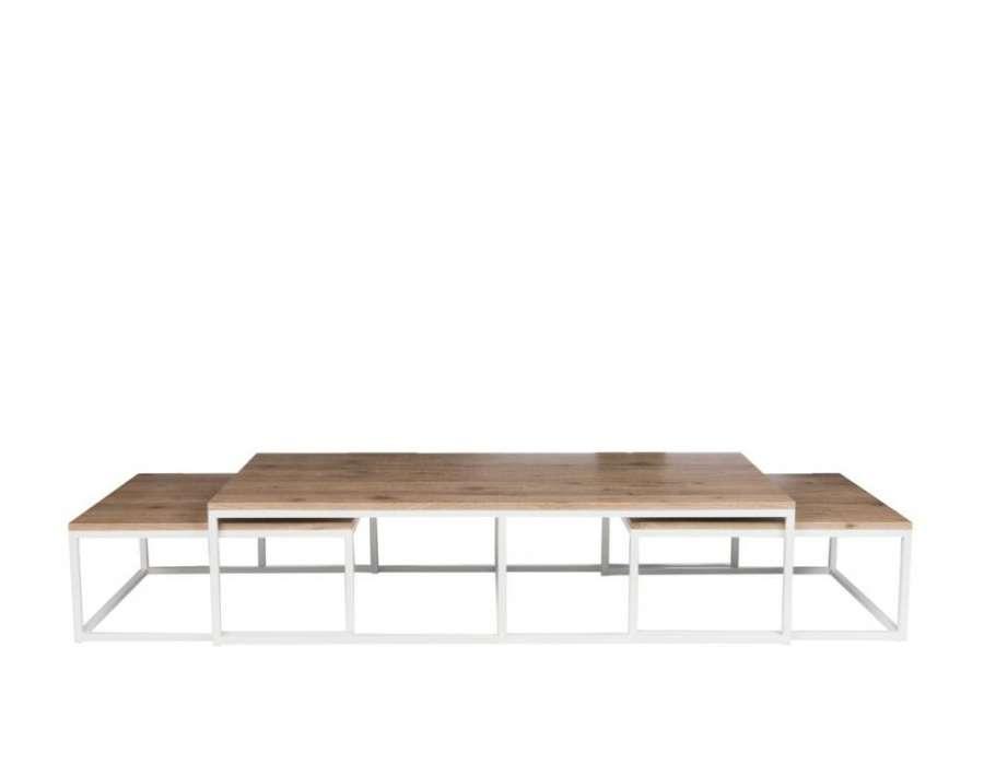 Tables de salon gigognes métal blanc et bois Jolipa