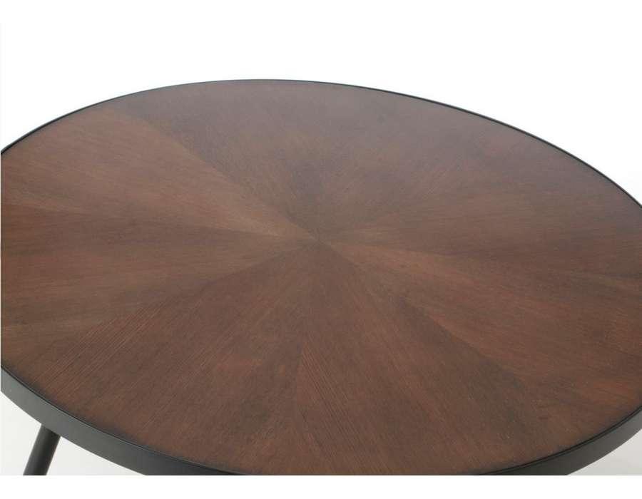 Table basse ronde chic marron et métal Touquet