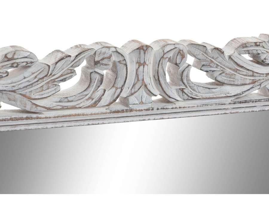 Grand miroir blanc patiné sculpté Agathe