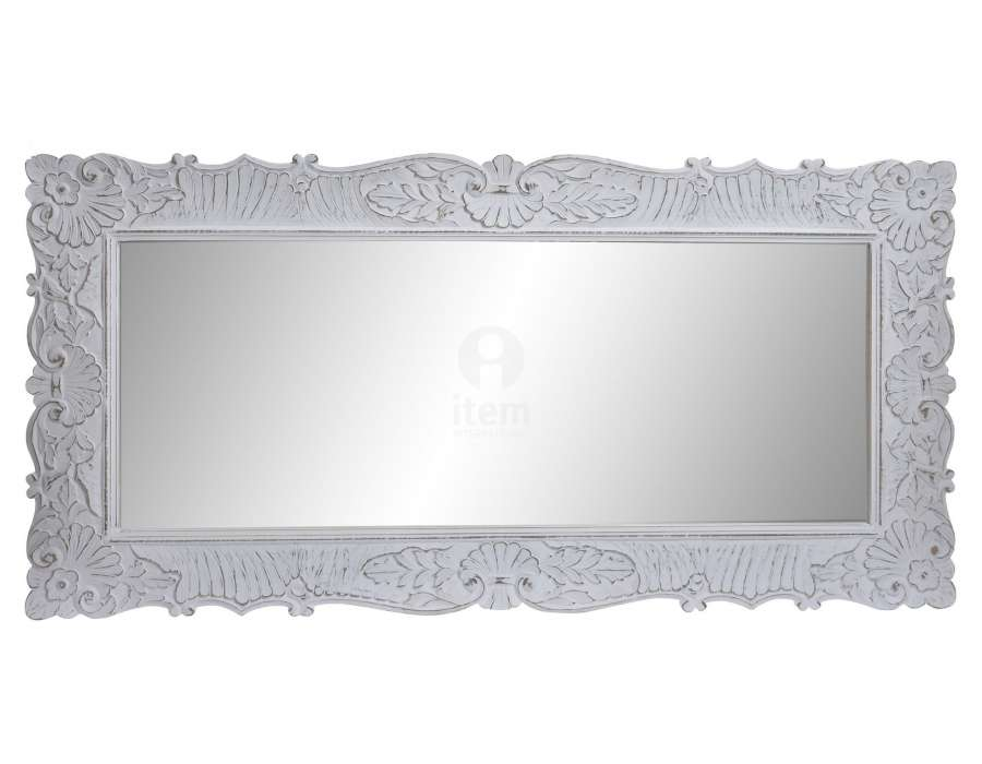 Grand miroir blanc patiné fleurs Agathe