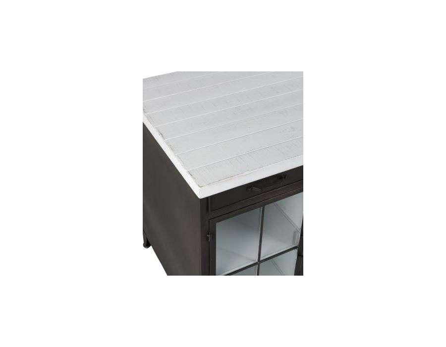 Bureau industriel plateau bois blanc avec placards Jolipa