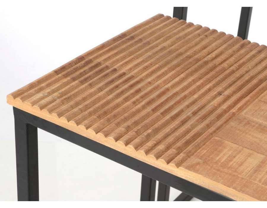 Set de deux consoles métal bois martelé