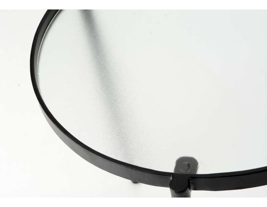 Petite table basse ovale en métal et verre
