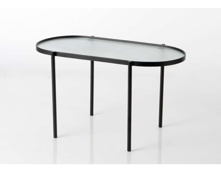 table de salon plateau verre pieds m tal forme ovale amadeus. Black Bedroom Furniture Sets. Home Design Ideas