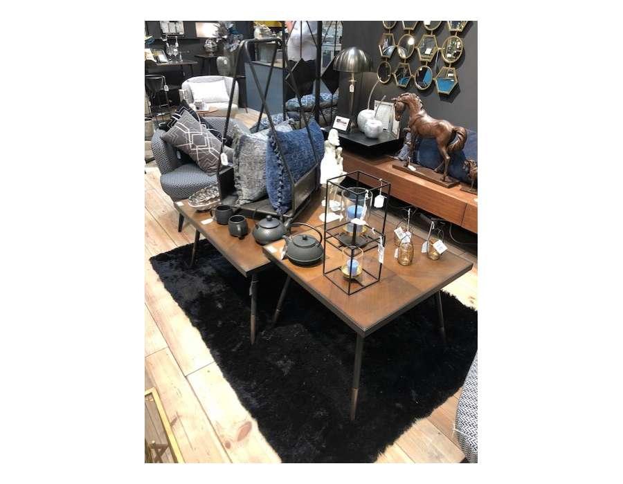 Table basse carrée chic marron et métal Touquet