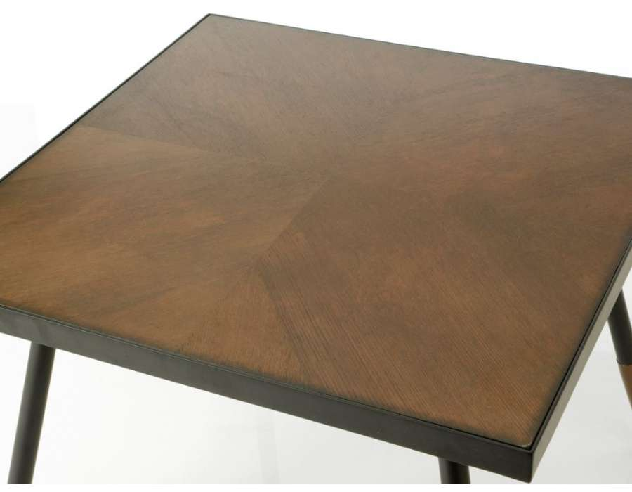 Bout de canapé carré chic marron et métal Touquet