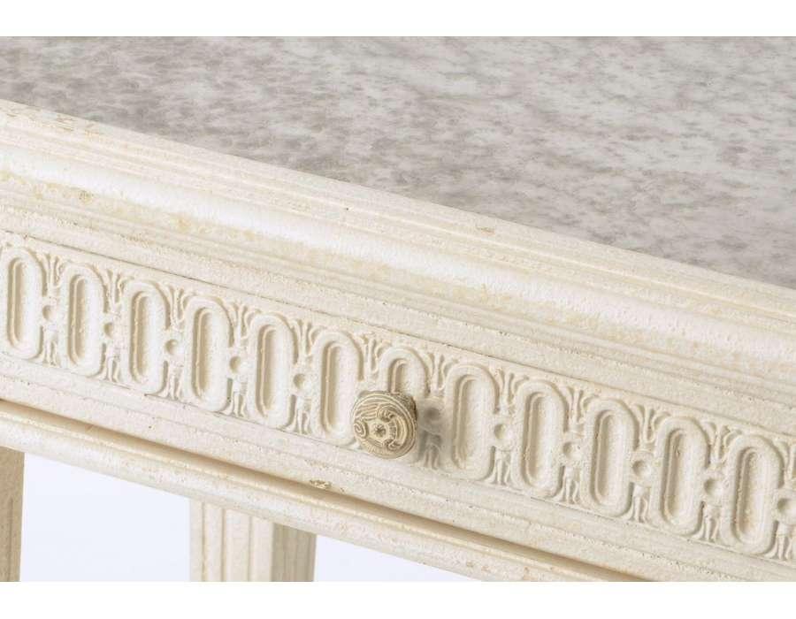 Bout de canapé miroir bois beieg vieilli