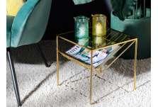 Bout de canapé verre et doré pour magazines