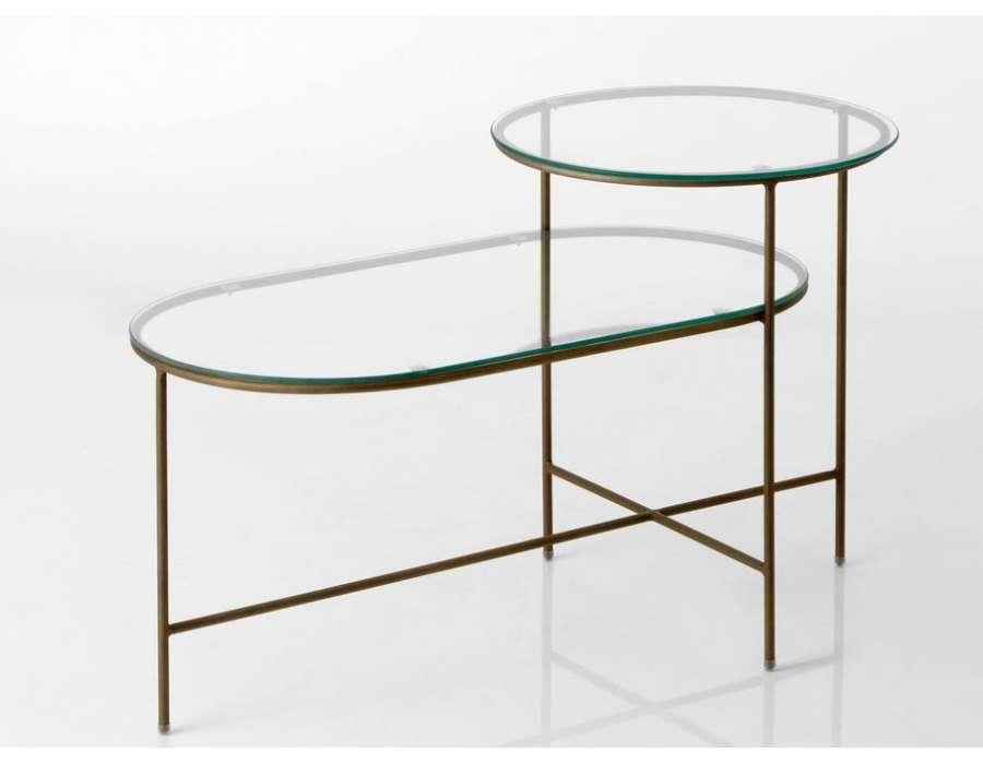 Table basse verre pied métal doré