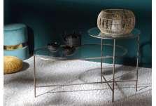 Table basse verre pieds métal dorés