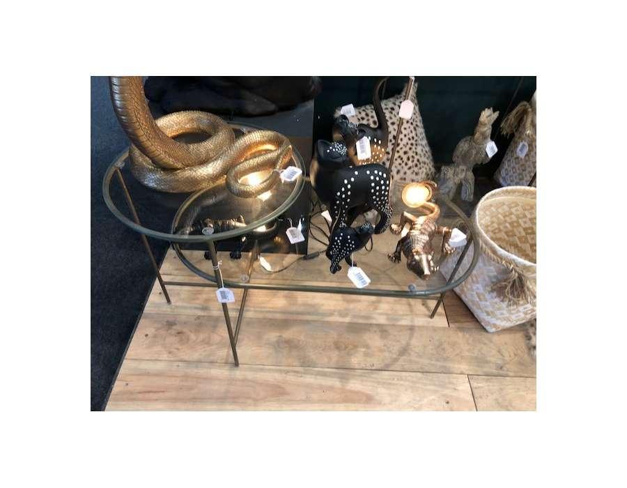 Table basse verre pieds métal doré
