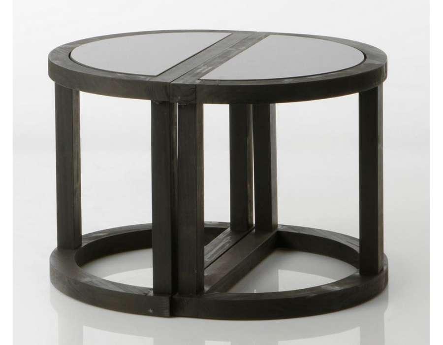 Bout de canapé noir demi lune contemporain black