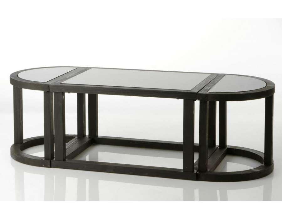 Table De Salon Noire Contemporaine En Bois Et Verre Amadeus