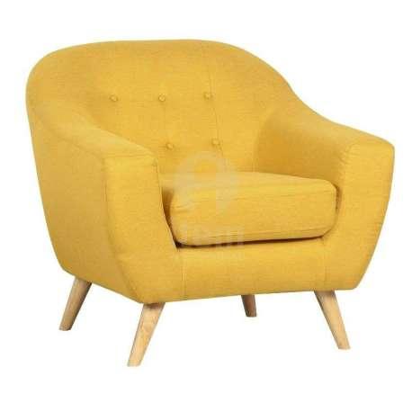 Fauteuil de salon jaune arrondi moderne pas cher