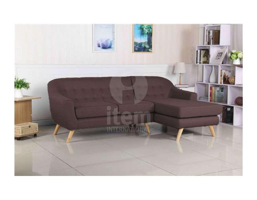 Canapé 3 places chocolat avec méridienne Sylvia