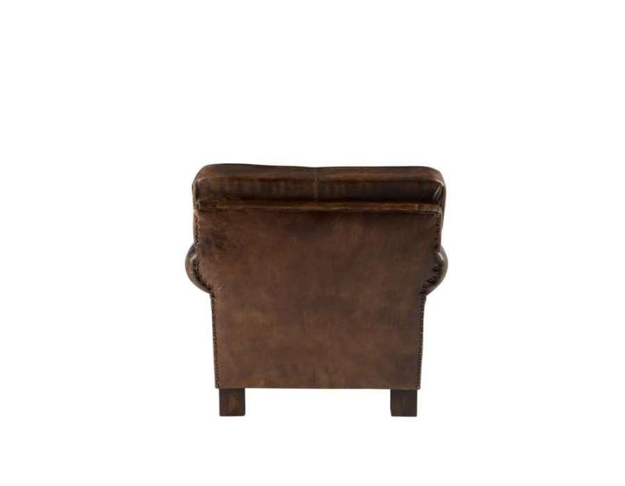 Fauteuil vintage cuir marron Jolipa