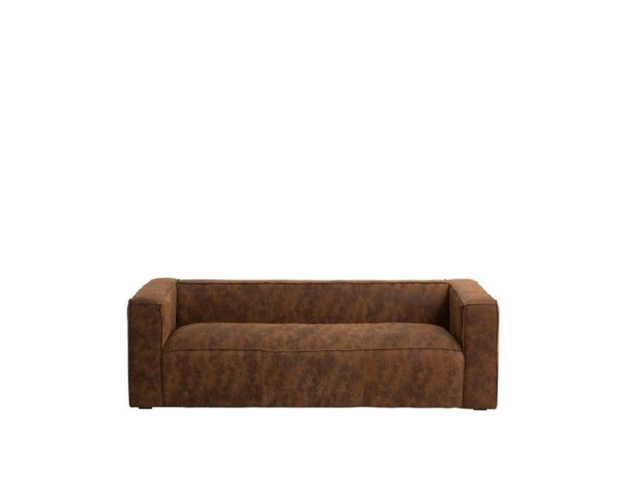 Canapé cuir délavé 4 places moderne