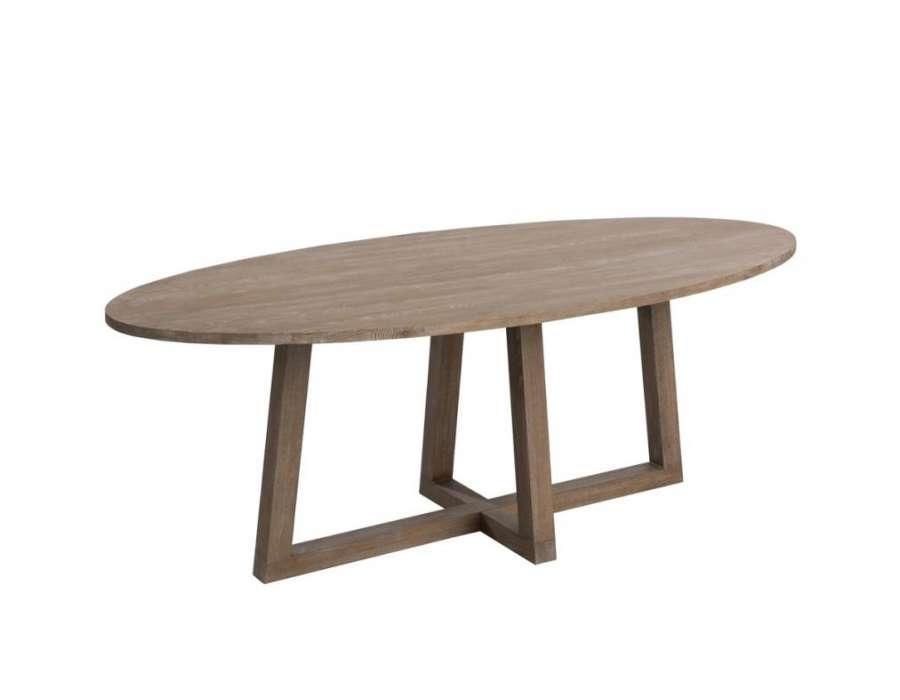 Table ovale contemporaine bois clair