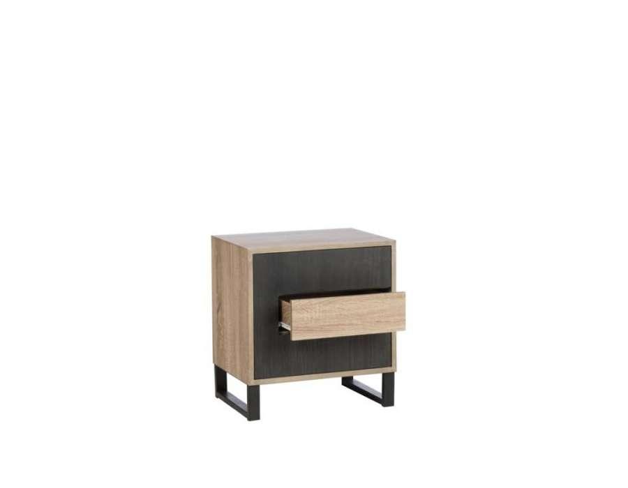 Chevet contemporain bois clair et bois noir Jolipa