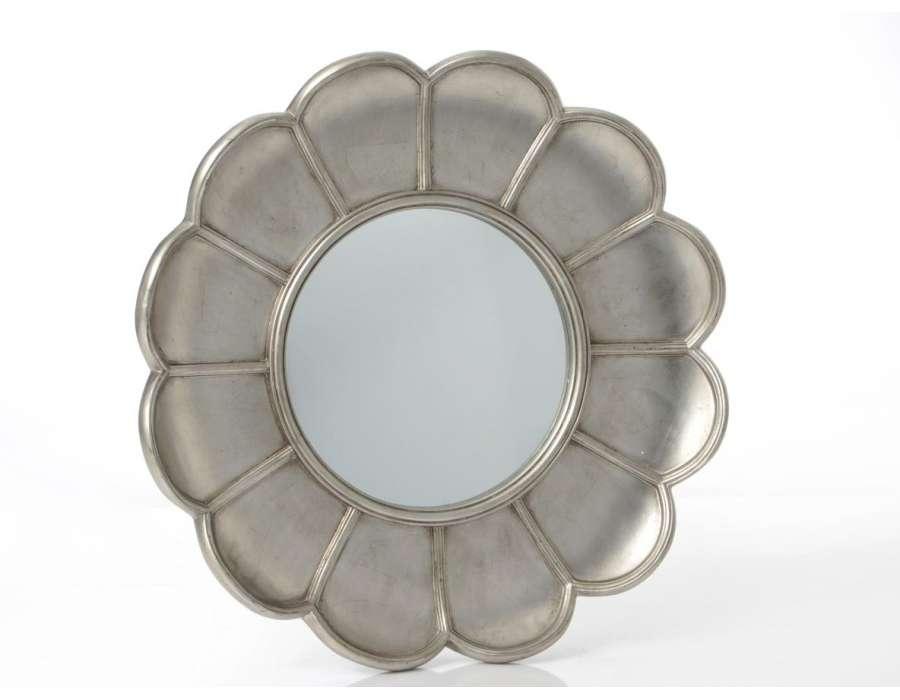 Grand miroir fleur argentée