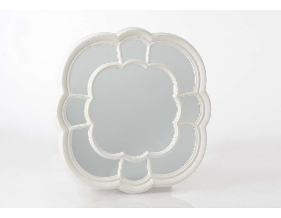 Grand miroir fleur blanche