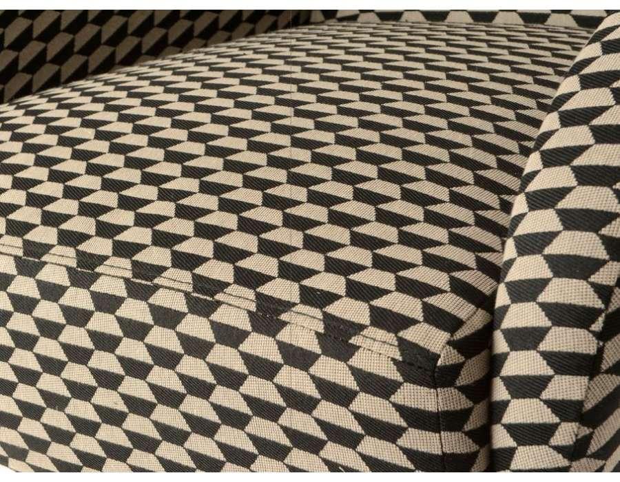 Fauteuil tapissé moderne noir et beige