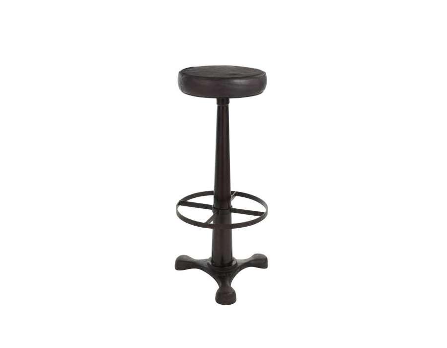 tabouret de bar industriel ajustable en m tal cuir noir jolipa. Black Bedroom Furniture Sets. Home Design Ideas
