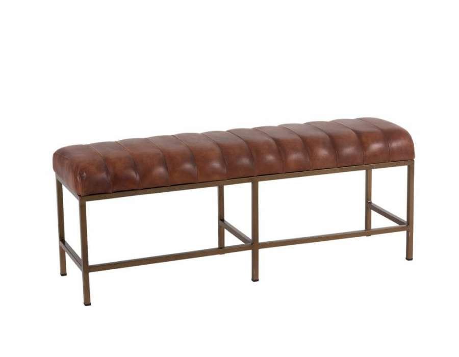 Grand banc vintage cuir marron Jolipa