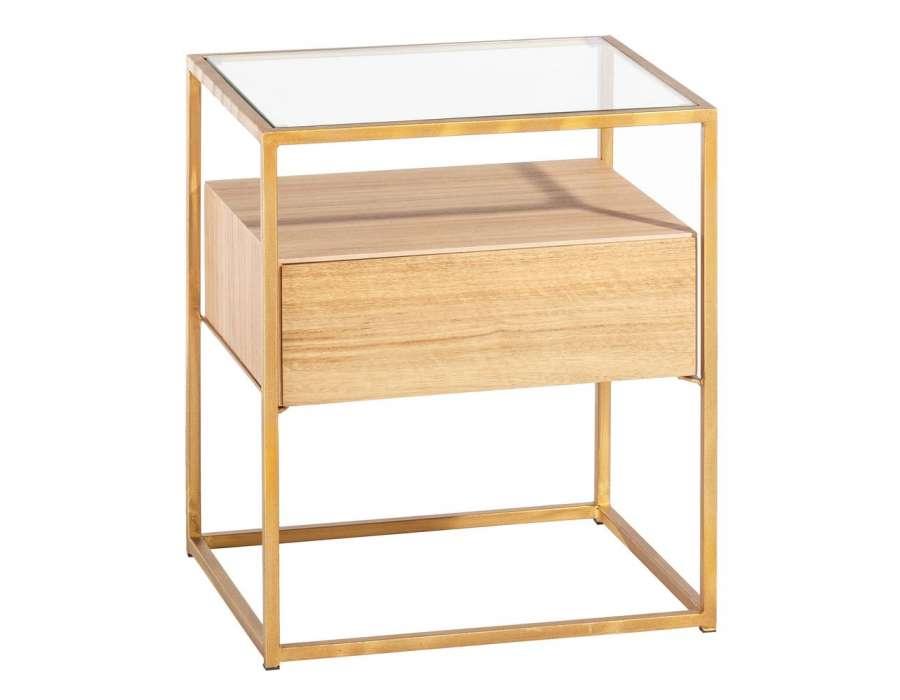 table de nuit chic teck et verre dor. Black Bedroom Furniture Sets. Home Design Ideas