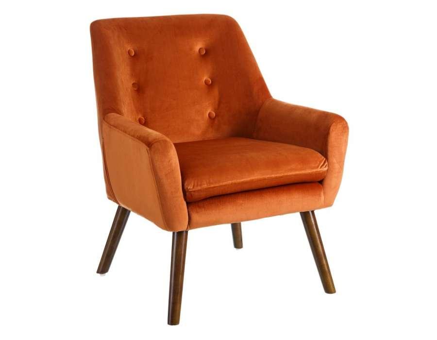 Fauteuil orange capitonné velours Tiela