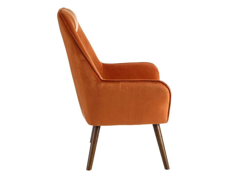 Fauteuil orange velours rembourré Celio