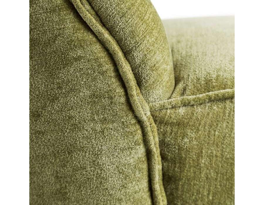 Chauffeuse verte velours sur socle