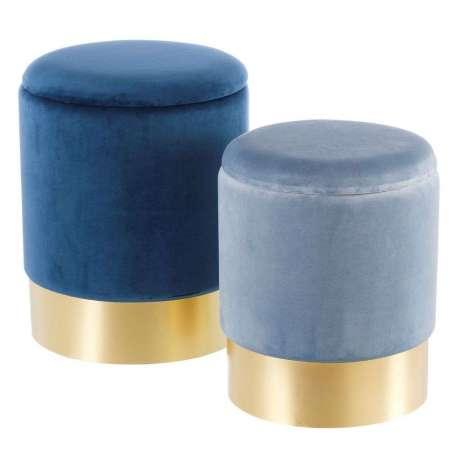 Poufs coffres bleus sur socle doré par 2