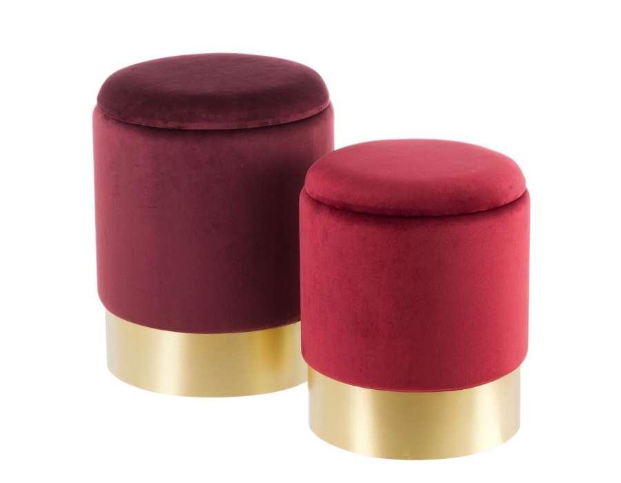 Poufs coffres rouges sur socle doré par 2
