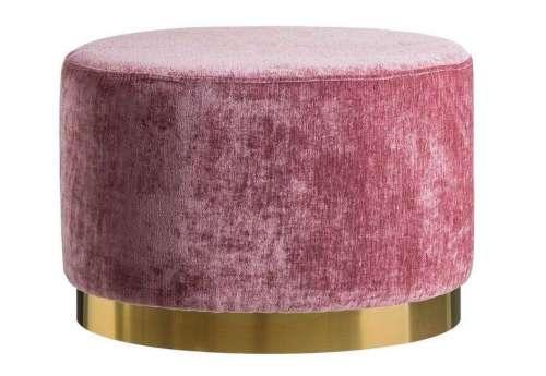 Pouf rose 60 cm socle doré