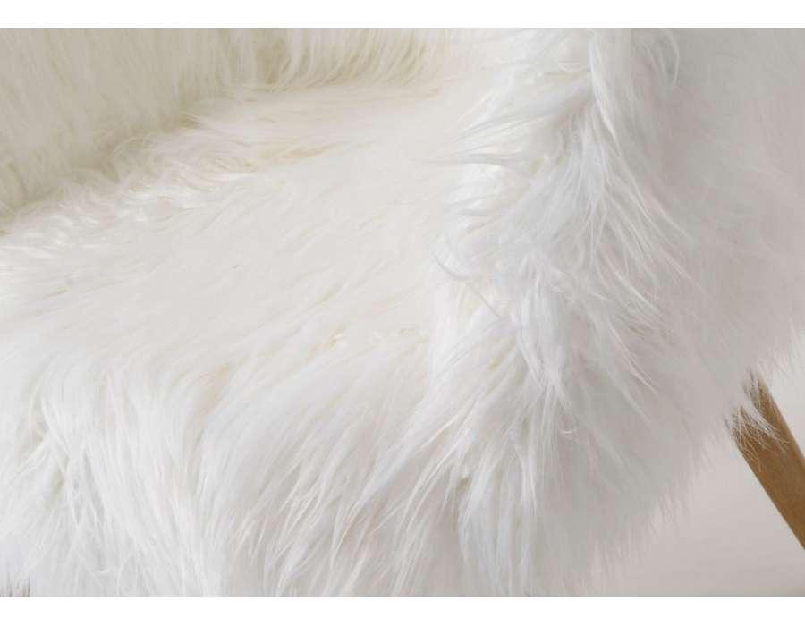 Fauteuil fourrure blanc amadeus pas cher