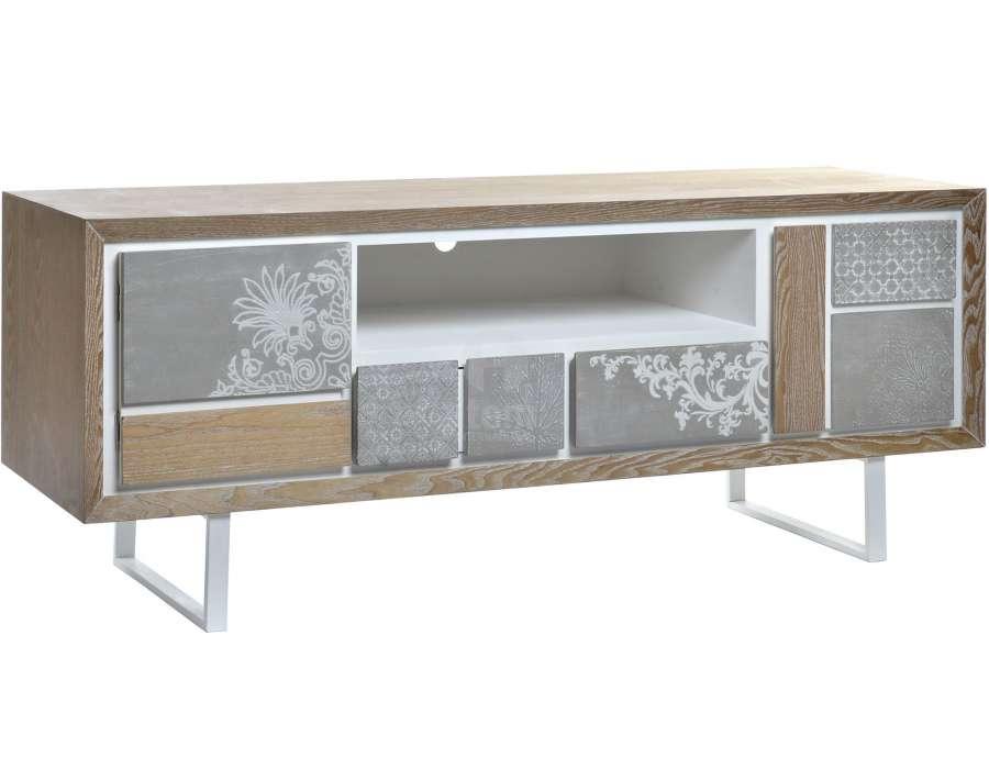Meuble télé bois et gris moderne Luc