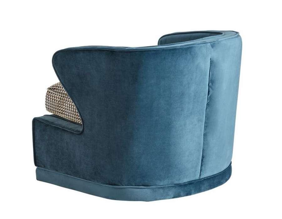 Fauteuil bleu sans pied vintage