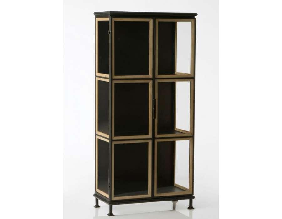 armoire noire vitr e 2 portes contour bois en m tal de style industriel de la marque amadeus. Black Bedroom Furniture Sets. Home Design Ideas