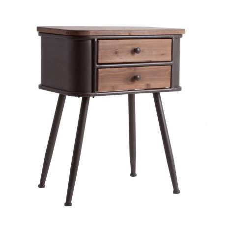 chevet vintage 2 tiroirs bois et m tal vical home. Black Bedroom Furniture Sets. Home Design Ideas