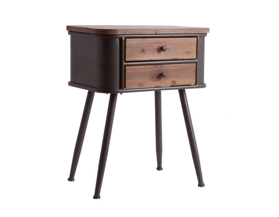 Table de nuit vintage bois métal 2 tiroirs