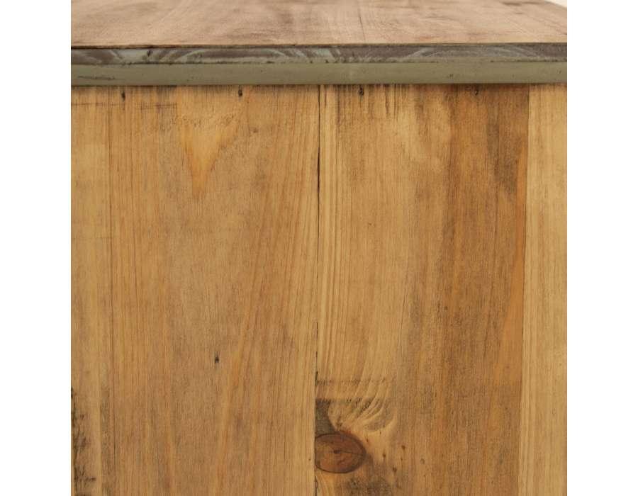 Chevet retro bois 2 tiroirs cérusé