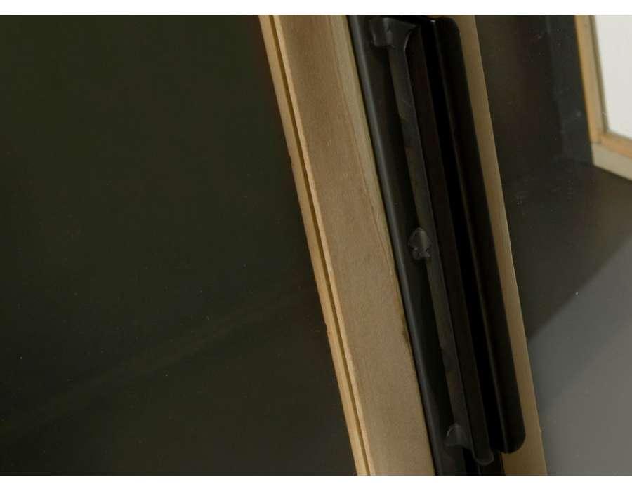 Vitrine basse 2 portes métal et bois