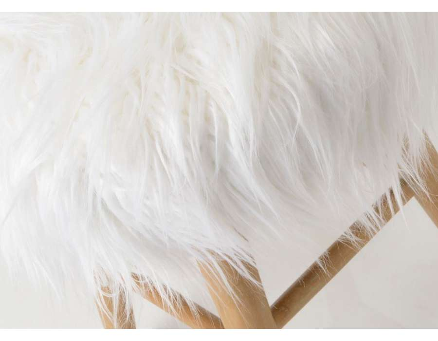 Tabouret fourure blanc Amadeus