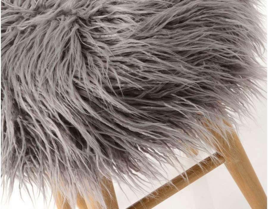 Tabouret fourrure gris Amadeus